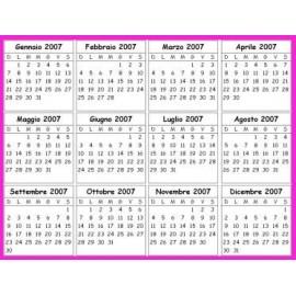 Calendario Luglio 2007.Calendario Tascabile