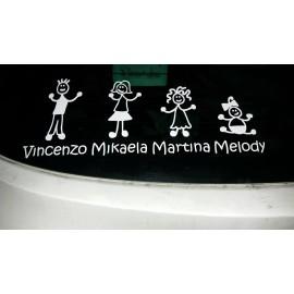 Famiglia Adesivi Bambina Carrozzina