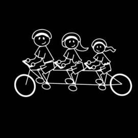 Famiglia Adesiva Bici 3 personaggi