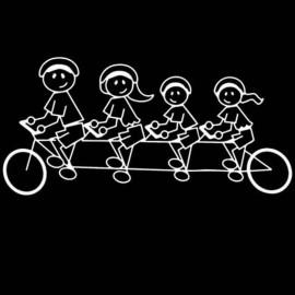 Famiglia Adesiva Bici 4 personaggi