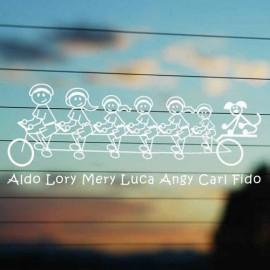 Adesivo Famiglia Bici 7 personaggi