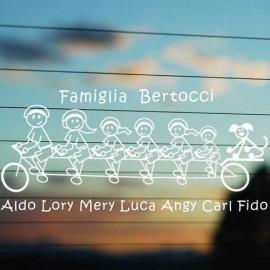 Adesivo Famiglia Bici 7 personaggi nomi e cognome