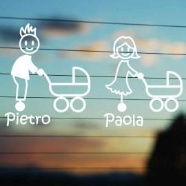 Adesivo Famiglia Papà e Mamma con Passeggino