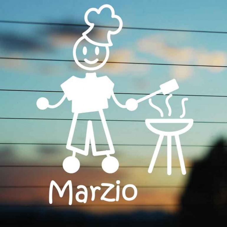 Adesivo Famiglia Papà con Barbecue
