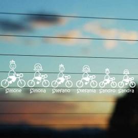 Adesivo Famiglia completo ciclisti