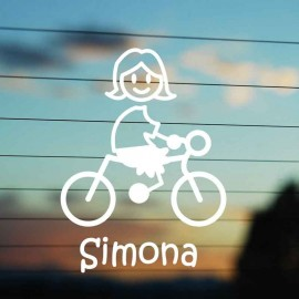 Adesivo Famiglia Mamma Ciclista
