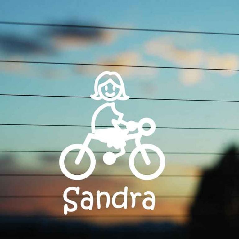 Adesivo Famiglia Bimba Media Ciclista