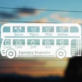 Adesivo Famiglia in Autobus 11 personaggi