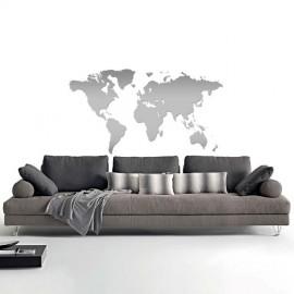 Adesivo Murale interior design Mappa del Mondo Argento