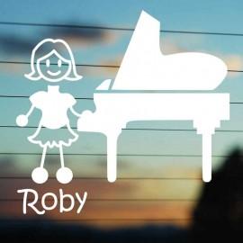 Adesivo Famiglia Mamma Pianista