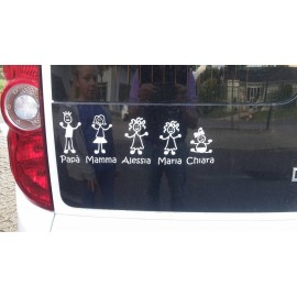 Adesivo Famiglia personalizzato Gatto