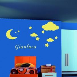 Adesivo Murale Luna, stelle e nuvole