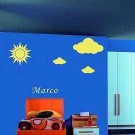 Adesivo Murale Sole e nuvole