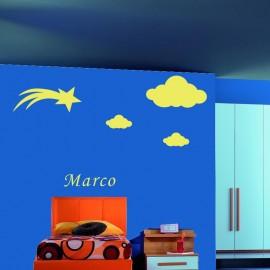 Adesivo Murale Stella Cadente e nuvole