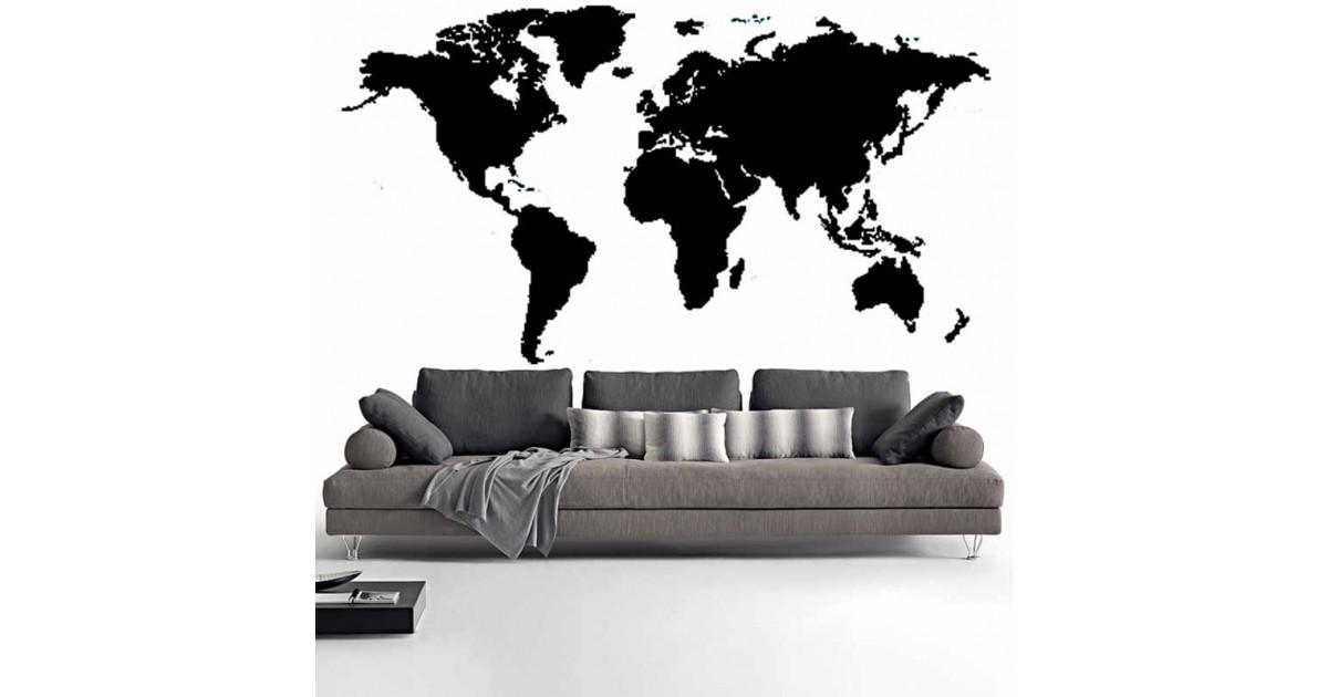 Adesivi Murali Mappa del Mondo nero