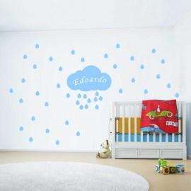 Adesivi murali pioggia di gocce con nome