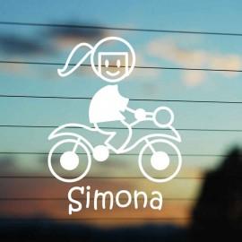Adesivo Famiglia Mamma Moto con casco