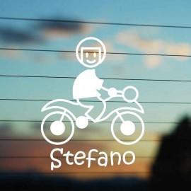 Adesivo Famiglia Bimbo Moto con casco