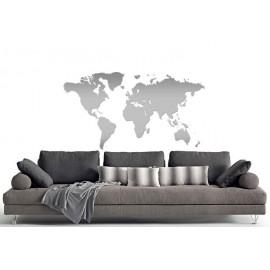 Adesivi Murali Mappa del Mondo argento piccolo
