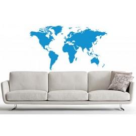 Adesivi Murali Mappa del Mondo Azzurro piccolo