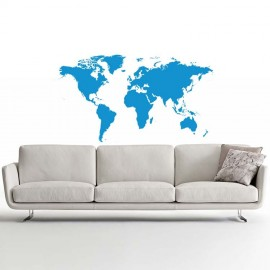 Adesivo Murale interior design Mappa del Mondo Azzurro piccolo