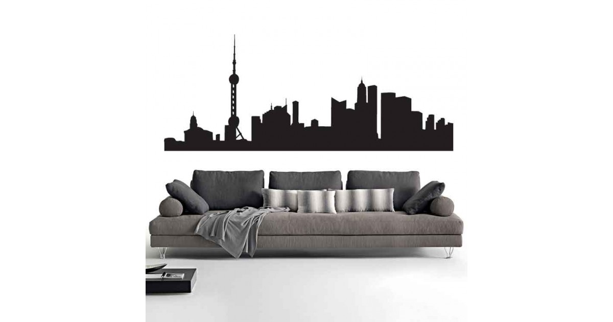 Adesivi Murali Skyline Shangai piccolo