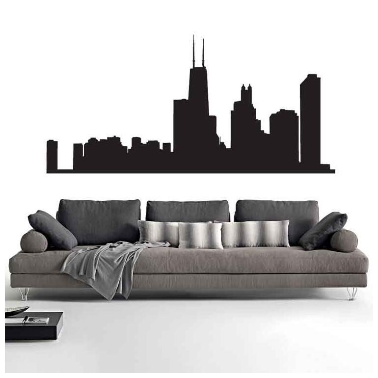 Adesivi Murali Skyline Chicago piccolo