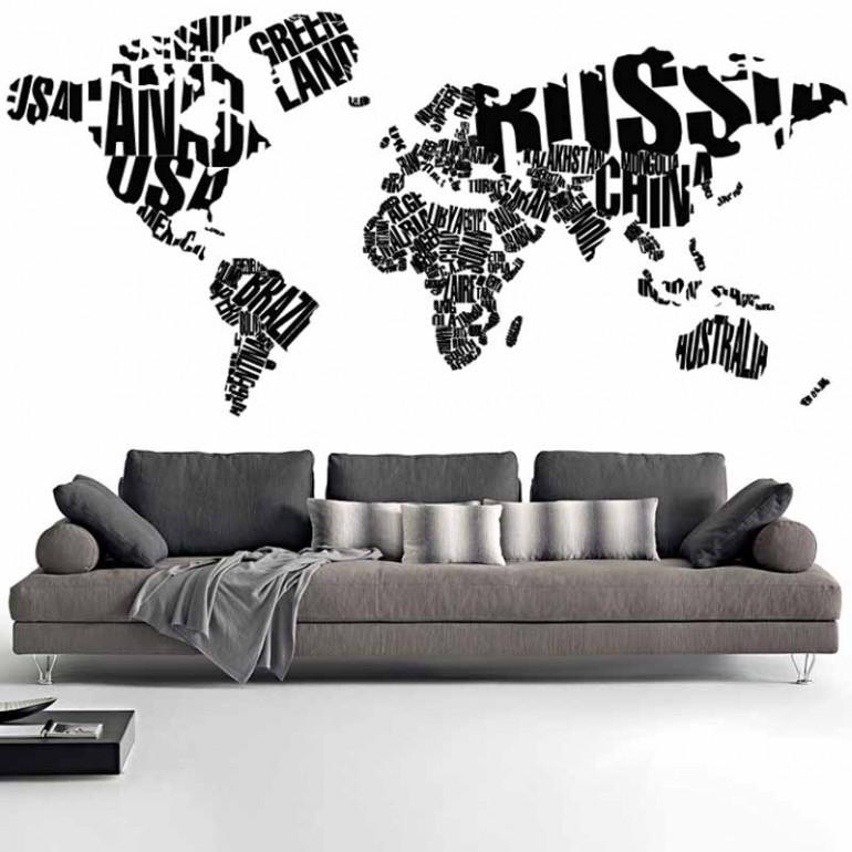 Adesivi Murali Mappa del Mondo tipografico nero piccolo