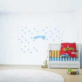 Adesivi murali pioggia di stelle piccolo con nome