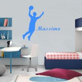 Adesivo Murale giocatore pallacanestro con nome