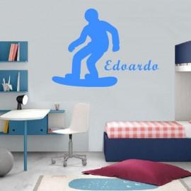 Adesivo Murale Snowboarder con nome