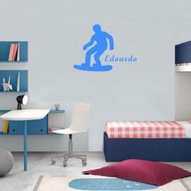 Adesivo Murale piccolo Snowboarder con nome