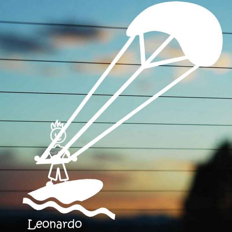 Adesivo Famiglia Papà con kitesurf