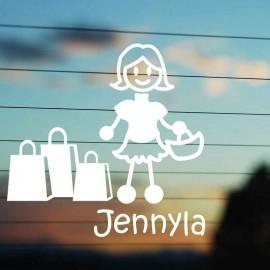 Adesivo Famiglia Mamma Shopping