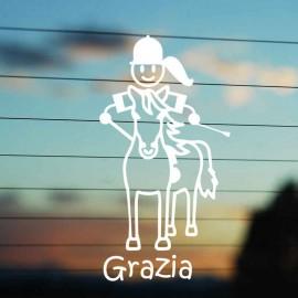 Adesivo Famiglia Bimba Media a Cavallo