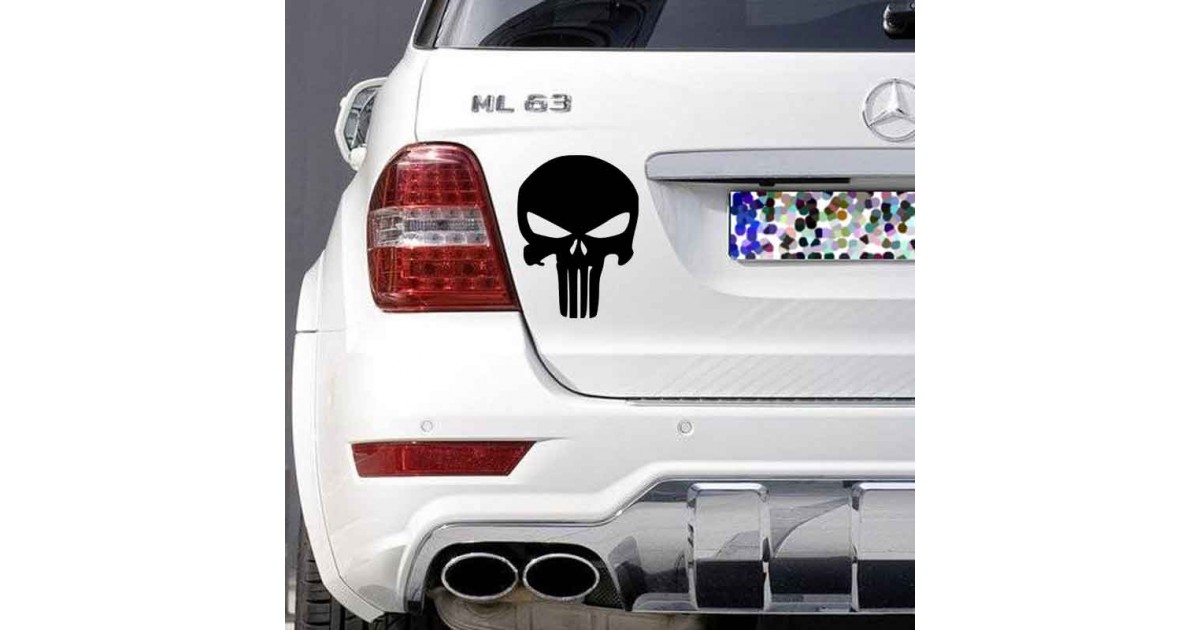 Adesivo logo Punisher auto bianca