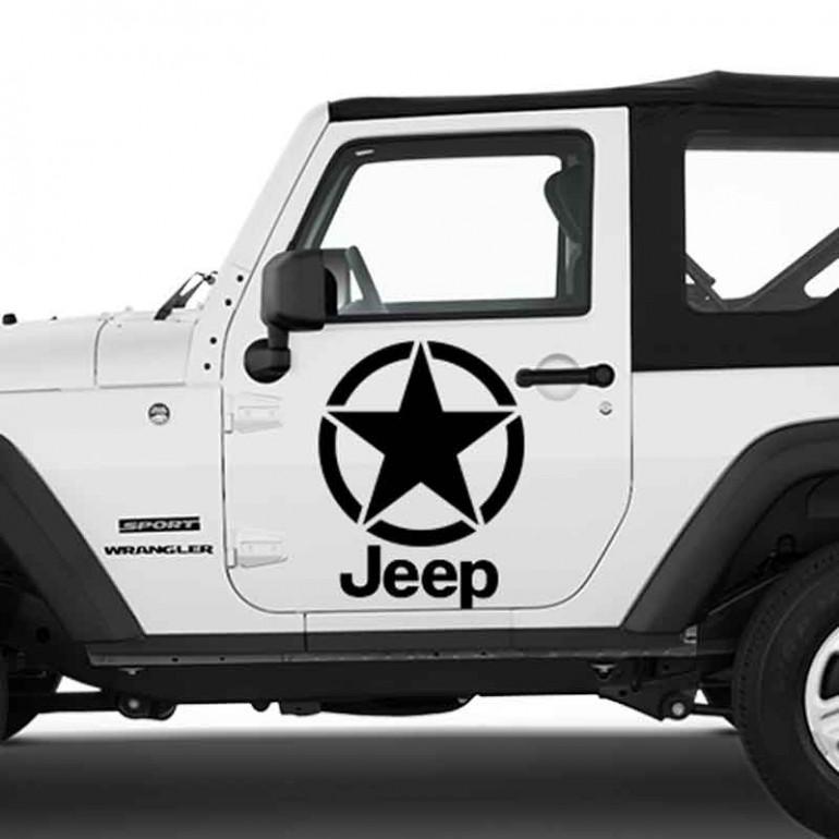 Adesivo zoom stella scritta per Jeep auto bianca