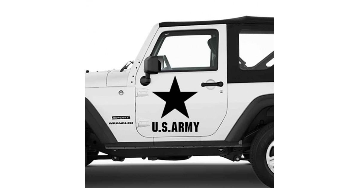 Adesivo zoom stella U.S. Army grande per Jeep auto bianca
