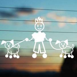 Adesivo Famiglia Papà con 2 Cani