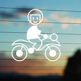 Adesivo Famiglia Papà Moto con casco