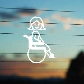 Adesivo Famiglia Bimba Grande Disabile