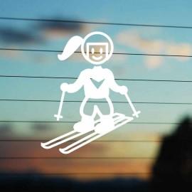 Adesivo Famiglia Bimba Grande Sciatrice