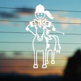 Adesivo Famiglia Bimba Grande a Cavallo