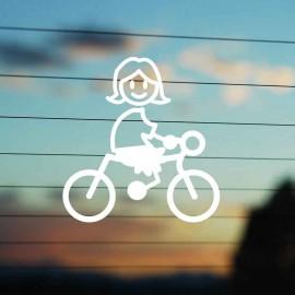 Adesivo Famiglia Bimba Grande Ciclista