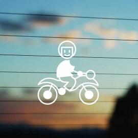 Adesivo Famiglia Bambino Moto con casco