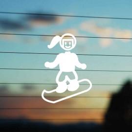 Adesivo Famiglia Bimba Media Snowboard