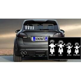 SonoNato Adesivi Famiglia Bambina in Moto