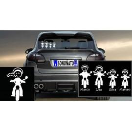 Crea la tua Famiglia su Adesivo personalizzato Bambina in Moto