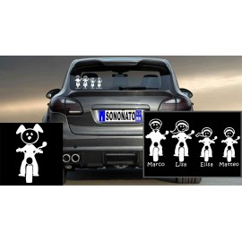 Crea la tua Famiglia su Adesivo personalizzato Cane in Moto