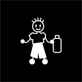 Adesivi Raccolta Differenziata Uomo con la Plastica